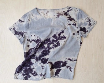 Black and Gray Hand Dyed Abstract Top