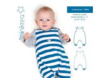 Minikrea 11403 Sewing Pattern Romper Suit for Newborn Babys Dänish