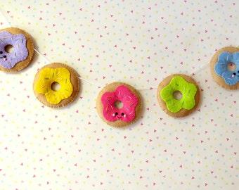 Colourful Donut Garland, felt doughnut bunting, cute donuts banner, bright wall hanging, kitsch food decor, colourful nursery decor gift