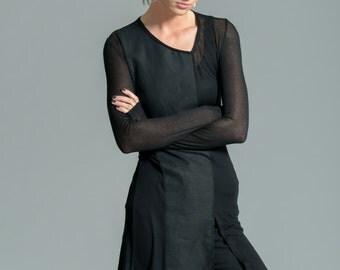 Long Tunic / Black Top / Long Sleeve Shirt / Sheer Blouse / Stylish Shirt / Long Top / marcellamoda - MB267