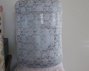 Pink Lace Bottle Decor- Water Dispenser Cover See through Lace