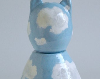 Dreamy Sky Cat Urn - made to order - cremation urn, cats, blue, clouds, pet urn