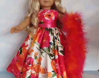 18 inch doll clothes - #202 Orange and Pink Floral Gown made to fit the American Girl Doll - FREE SHIPPING