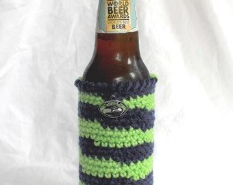 Seahawks beer cozy beer can cozy navy green