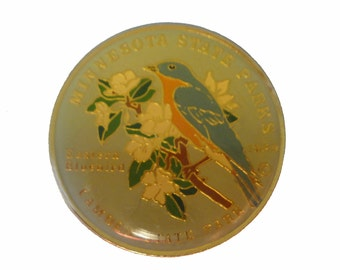 MINNESOTA STATE PARKS Bird vintage enamel pin lapel badge mn Camden Eastern Bluebird