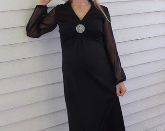 Vintage 70s Black Dress Maxi Long 1970s Hippie Sheer Sleeves S 8