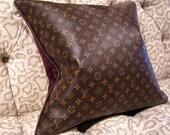 LOUIS VUITTON Style Pillow Cover Vinyl 20x20 Velvet Hidden Zipper Best Made on the Web FAB!
