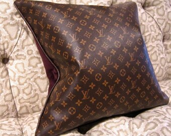 LOUIS VUITTON Style Pillow Cover Vinyl 20x20 Velvet Hidden Zipper Best Made on the Web FAB!