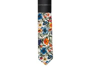 SKINNY TIE Pomp and Ceremony, Men's skinny tie, Liberty of London Rachel floral