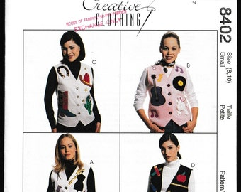 McCall's 8402  Misses Vest with Back Tie and Applique Variations Creative Clothing