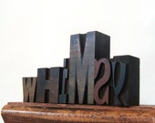Letterpress Whimsy, 6 Wood Type Blocks WHIMSY Vintage Print Letters Home Accent
