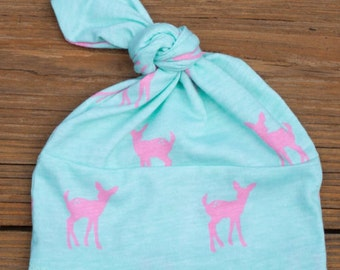 Pink Fawn Knotted Beanie Hat