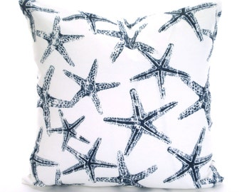 OUTDOOR Nautical Navy Blue Starfish Pillow Covers, Decorative Throw Pillows Cushions Navy White Starfish Sea Friends, One or More ALL SIZES