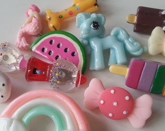 Lucky Dip, 10, kawaii, childrens party, party bag filler, brooch, brooches, pony, rainbow, sweets, ice lolly, by NewellsJewels on etsy