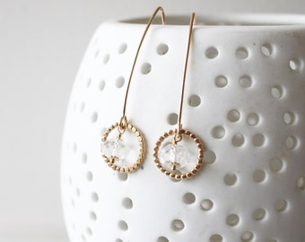 Delicate Amelia earrings with Quartz, gold drop earrings, minimal dainty earrings, delicate earrings, gift for her, birthday gift,