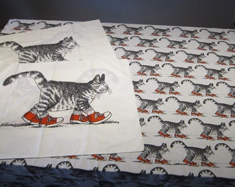 vintage KLIBAN CATS flat sheet and 2 pillow cases - 80 x 90 flat sheet - Kliban cat in red sneakers