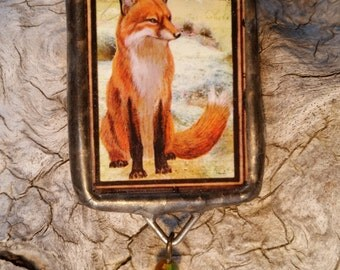 Double-Sided Fox and Dragonfly Pendant
