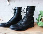 Mens Justin Leather Classic Roper Boots // sz 9.5