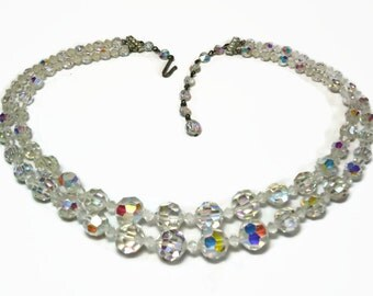2 Strand AB Crystal Bead Necklace with Graduated Round Beads & Rhinestone Accents Pave Set in Silver Findings - Vintage 50's Costume Jewelry
