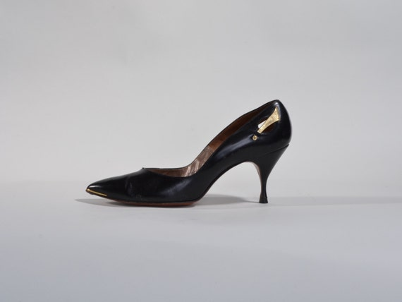 Vintage 1950s Black Stiletto Shoes - Gold Wing Leather High Heels - Henry Waters Size 6 N