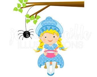 Miss Muffet Cute Digital Clipart, Nursery Rhyme Clip art, Little Miss Muffet Graphics, Cute Nursery Rhyme Illustration, #417