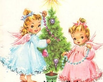 Christmas Angels Decorating the Tree, Downloadable Printable Digital Art Image, Instant Download, Home Decor, Supplies, Scrap Booking