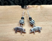 Black Pig Earrings, Black and White Pig Sterling Silver Dangle Earrings, Silver Pig Charm Sterling Silver Earrings, Pig Earrings