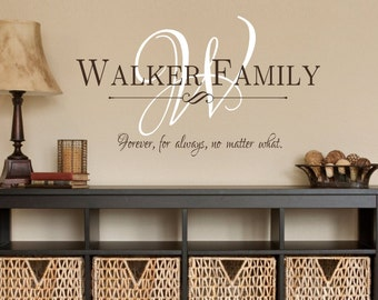 Family Name Monogram Forever for always no matter what-Vinyl Wall Decal- Custom Name- Entryway-Wall Decor- Modern Decor- Family Forever Love