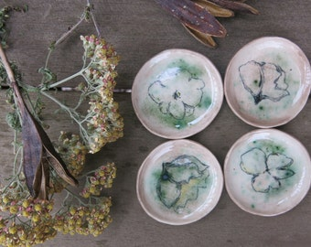 Tiny Trinket Dishes Ceramic Woodland Botanical Flower Hand Drawn Fine Art One of a Kind Home Decor, Handmade Pottery by Licia Lucas Pfadt