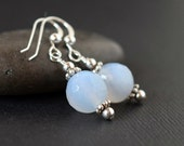Blue Lace Agate Earrings Sterling Silver Dusty Blue Earrings Pale Light Blue Translucent Natural Stone Dangles Blue Drops Gemstone Gift Wife