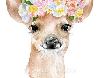 Deer Fawn Floral Wreath Watercolor Painting 11x14 Giclee Print Woodland Animal Girls Room Fine Art Nursery