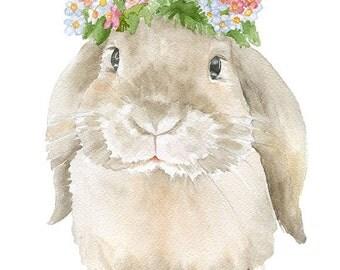 Bunny Rabbit Watercolor Painting Greeting Card - Blank 5x7