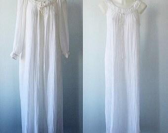 Vintage 1970s White Peignoir Set, Linda Lingerie, White Peignoir Set, Vintage Peignoir, Romantic, Vintage Lingerie