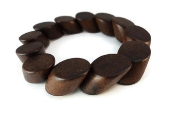 Dark Brown Wedge Wood Bracelet, Small Wood Stretch Bracelet Features Angled Cylinder Beads, Natural Slip On Jewelry For Nature Lovers