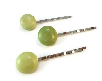 Set of Three Green Stone Bobby Pins, Green Natural Gemstone Hair Pin Silver Finished Steel, Green Cabochon Hair Accessories Stone