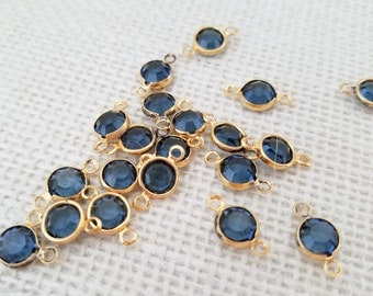 Vintage Swarovski Crystal Channel Connector or Charm, Gold Plated Blue Montana Swarovski Channel, Channel Connector with 2 loops, 10 pcs