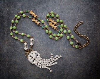 Rhinestone Assemblage Necklace with Celery Green Crystal Rosary Chain