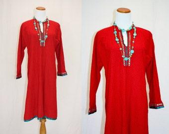 1990's Meditation Tunic Small Medium Red Turquoise Indian Vintage Retro 90s Shirt Dress Eastern Zen Ethnic Folk Hippie Boho