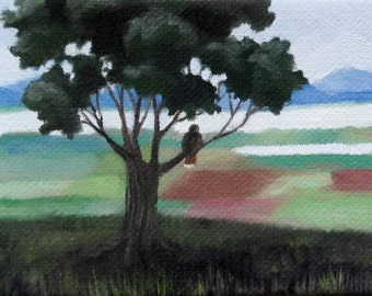 Hawk Ridge, Red-Tailed Hawk, Patchwork Landscape, Original Painting