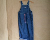 vintage 1990's Guess / jumper / jumpsuit / romper / overalls / oversized denim / cropped leg /made in the USA