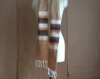 WEEKEND SALE ! vintage 70's boho bohemian wool scarve scarf / ombre pattern  /  retro winter fall accessory