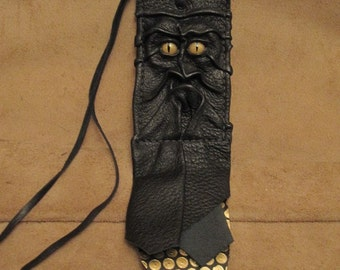 Grichels leather ID card holder - black with gold speckled slit pupil reptile eyes, black and gold circle print fringe