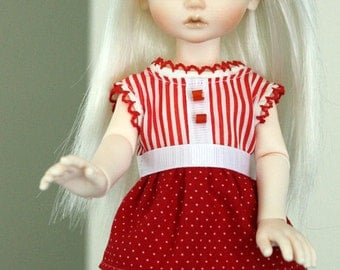 Red & White Blouse and Skirt for YoSD sized BJDs