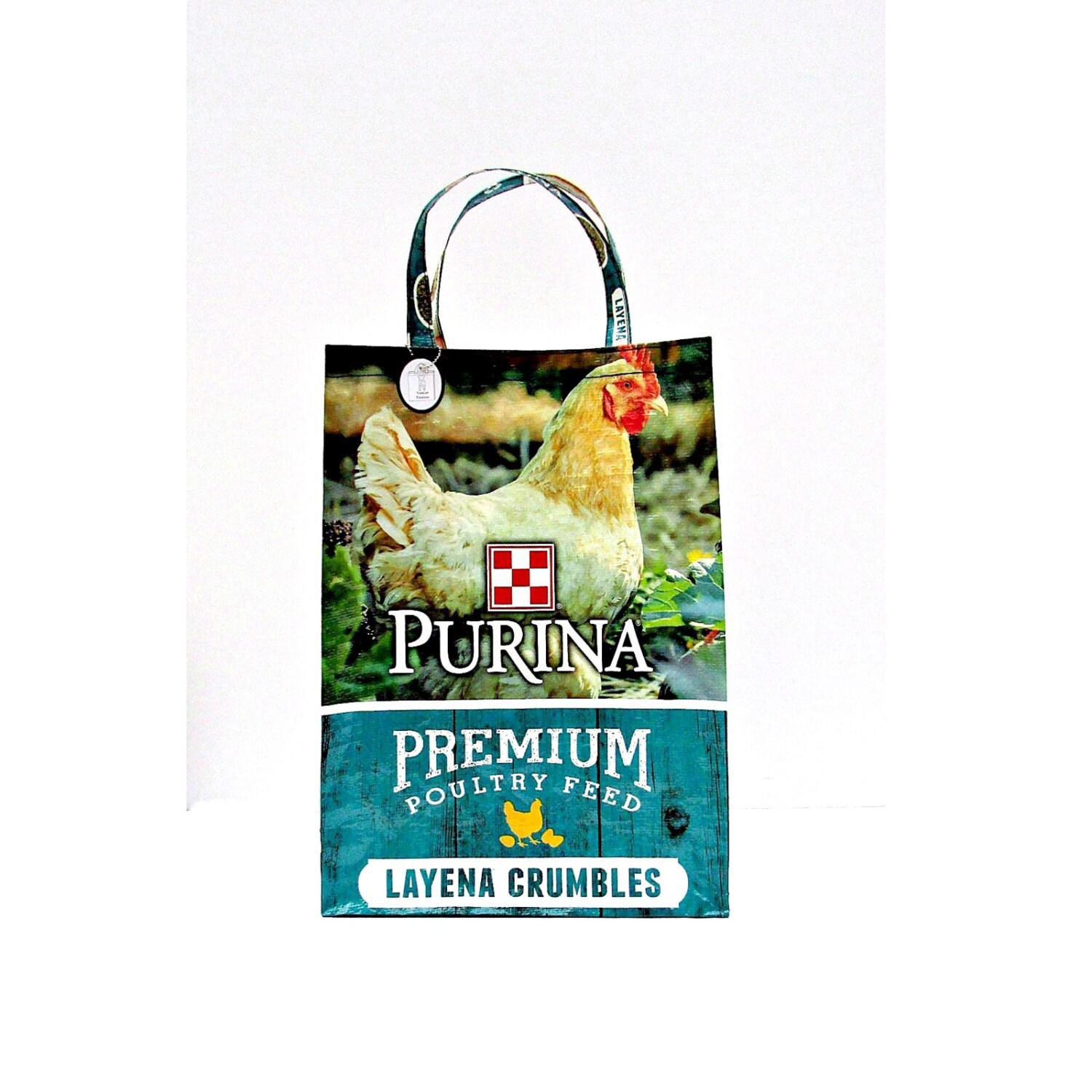 Feed: Chicken Bag Feed Sack Bag Chicken Feed Tote Red White Blue