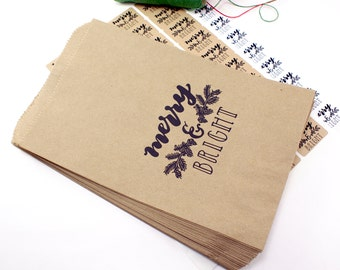 Shop Exclusive - 20 Christmas MERRY & BRIGHT kraft gift bags 6-1/4 x 9-1/4 - hand lettered design with holiday garland