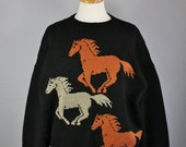 Vintage 80s Women's Wild Horses Equestrian Fall Winter Unique Rare Southwest Pullover Sweater