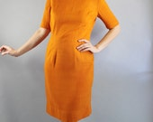 Vintage 60s Women's Pumpkin Spice Orange Form Fitting Wiggle Sheath Dress
