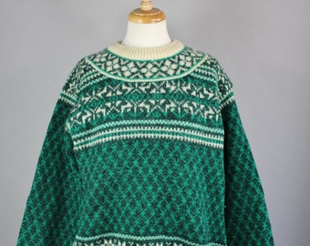 Vintage 80s Women's Men's Unisex Green Cream Benetton Wool Nordic Scandinavian Fair Isle Pullover Sweater