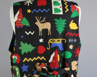 SALE - Vintage 80s Women's Reindeer Ugly Xmas Christmas Cotton Vest