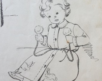 Vintage 1940's Sewing Pattern Child's Dressing Gown and Rabbit Slippers